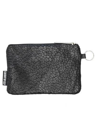 Caught by Eef Black Leather Purse | Jackie's Bag in Bag Mudcrack