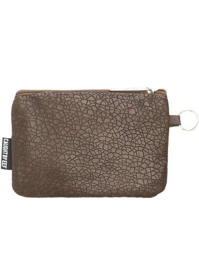 Caught by Eef Brown Mudcrack Leather Purse | Claudia's Bag in Bag Mudcrack