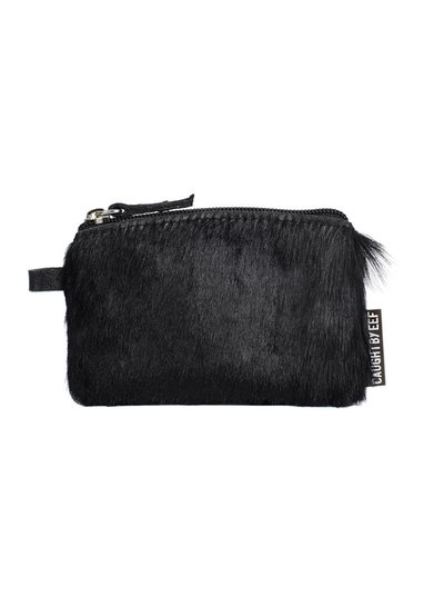 Caught by Eef Black Springbok Leather Mini Purse | Jackie's Cards & Coins Fur