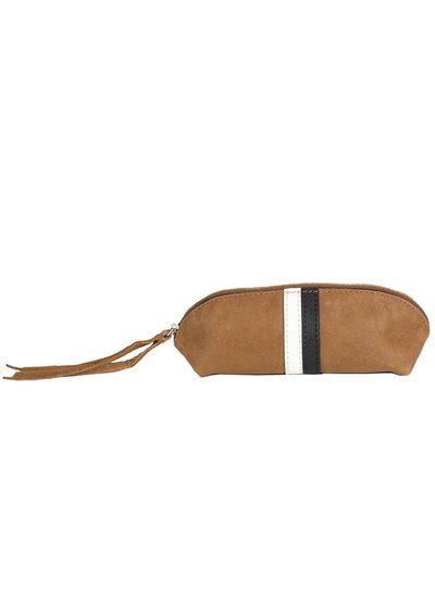 Caught by Eef Camel Leather Case | Maya's Make-up & Pencil Bag Black & White