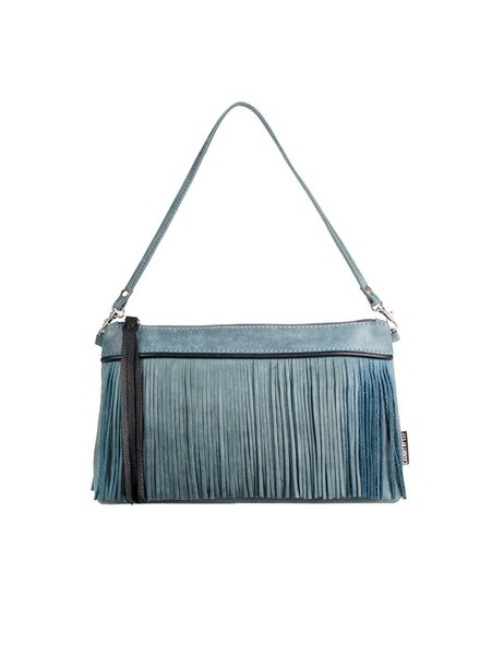 Caught by Eef Blue Leather Handbag | Grace's Ocean Splash Blue & Gray