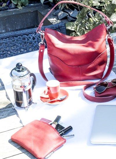 Caught by Eef Rood Leren Portemonnee | Sally's Bag in Bag