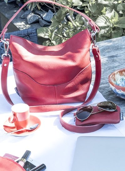 Caught by Eef Red Leather Mini Purse | Sally's Cards & Coins