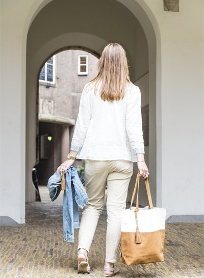 Caught by Eef Camel Leren Shopper | Lena's Cappuccino