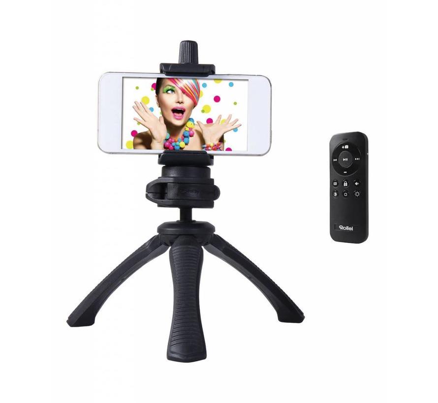 Rollei Selfie Tripod Set, voor iPhone en Smartphone, met Bluetooth Afstandsbediening