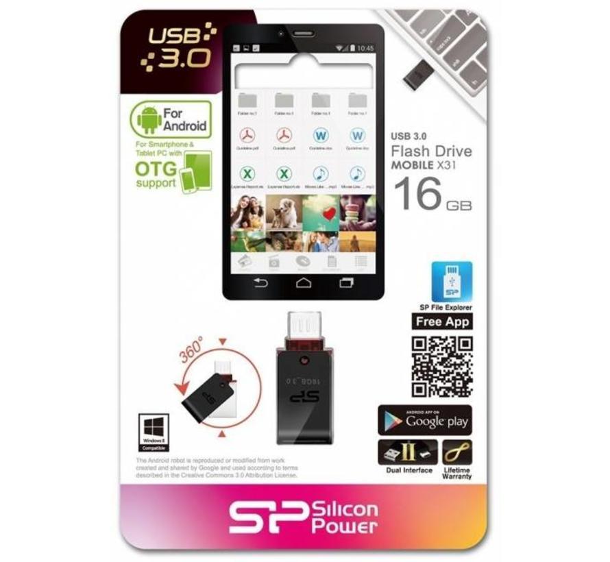 Silicon Power X31 Dual USB Pendrive 16GB USB 3.0