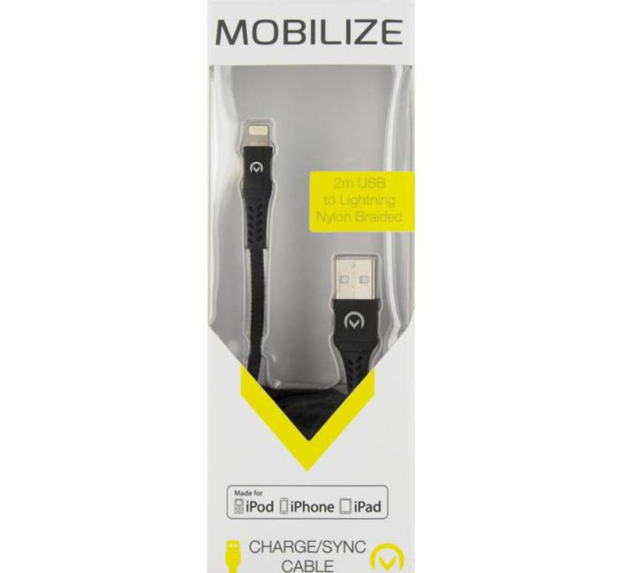 Mobilize Nylon Braided Charge/Sync Cable Apple Lightning 2m. Black
