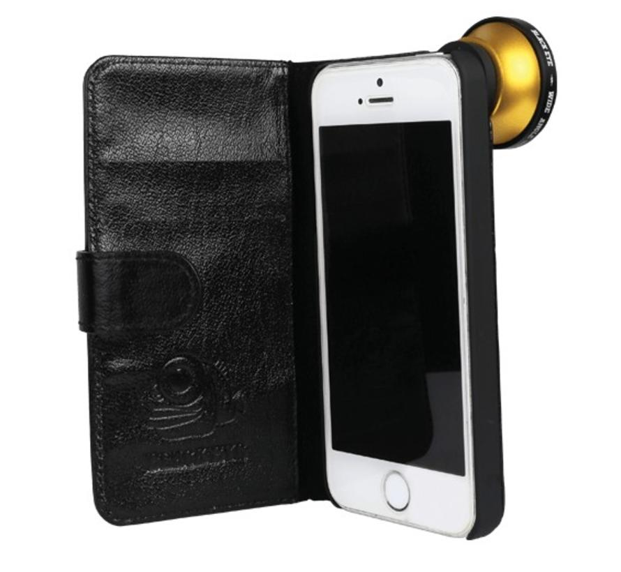 Black eye lens Flip cover + screenprotector iPhone 5/5s/SE bundel