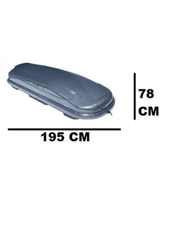 Zomer-/Winterbox Xtreme 450 Liter Dubbelzijdig Glanzend Donkergrijs 195x78x39cm