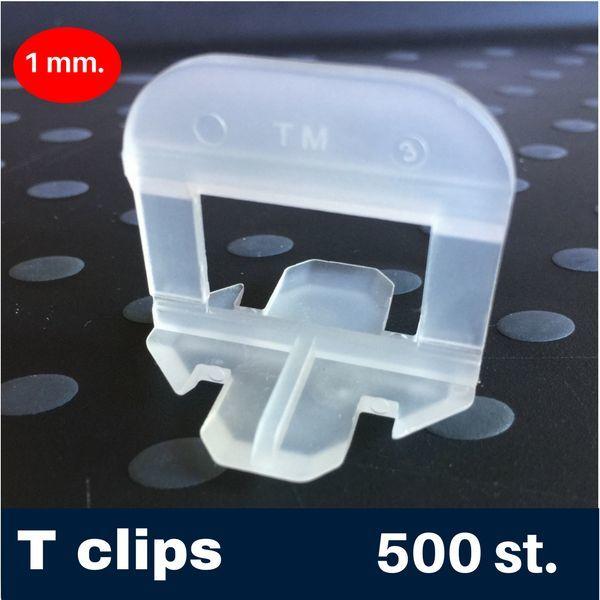 1  mm. -T- Tegel levelling Clips 500 st.