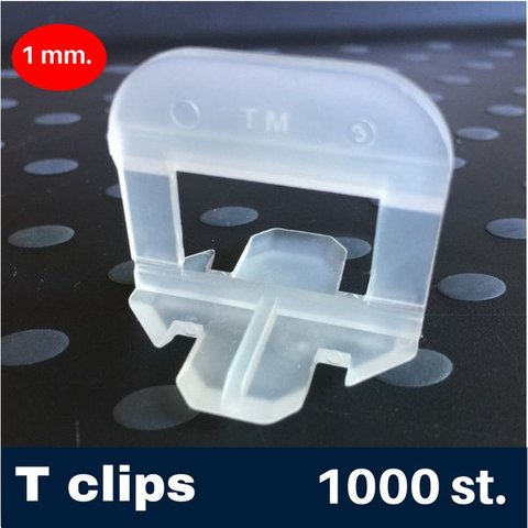1mm. -T- Tegel levelling Clips 1000 st.