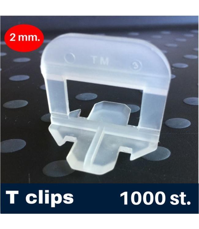 2 mm. -T- Tegel levelling Clips 1000 st.
