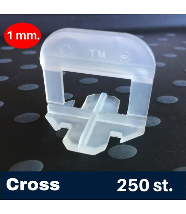 1 mm. Cross Tegel Levelling Clips 250 st.