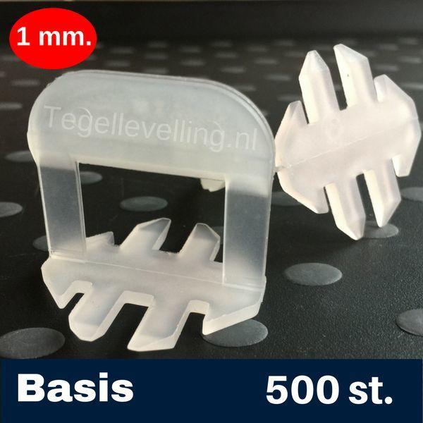 Tegel Levelling 1 mm. Basis. Tegel levelling Clips 500 st.