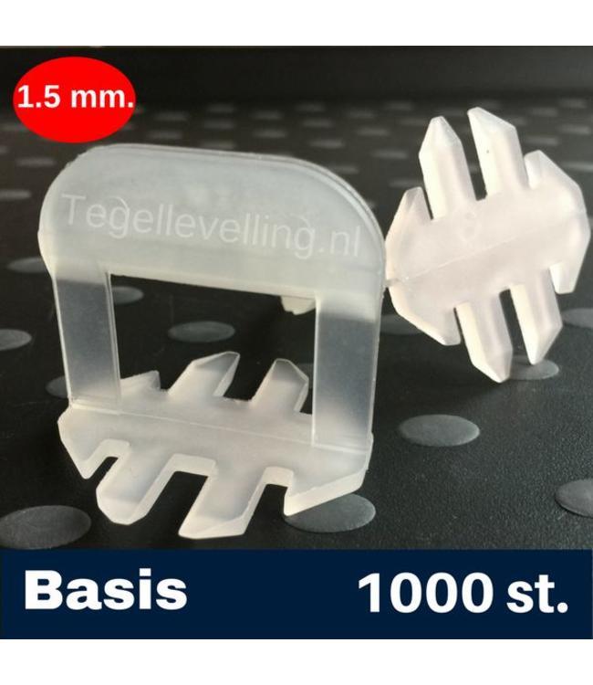 1,5 mm Basis. Tegel Levelling Clips 1000 st.
