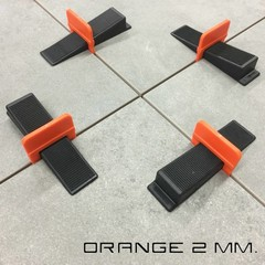 Tegel Levelling clips 2 mm. LEVLR. Orange