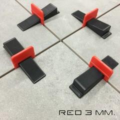 Tegel levelling clips 3 mm. LEVLR. Red