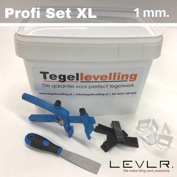 Levelling Starters kit 1 mm. Profi Set XL. Levlr. White