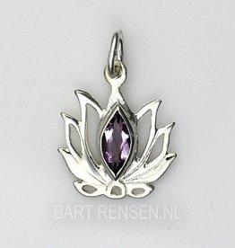 Lotus hanger met steen - zilver