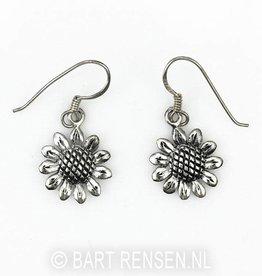 Sunflower earrings - silver