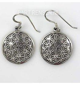 Flower of Life oorhangers-zilver