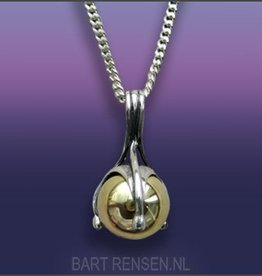 Ash pendant - silver with golden Globe