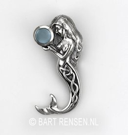 Mermaid pendant with gemstone - silver