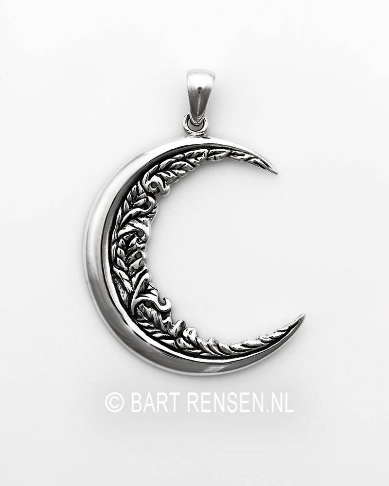 white crescent moon necklace chain w pendant gold