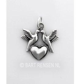 Hart hanger met 2 duifjes - zilver