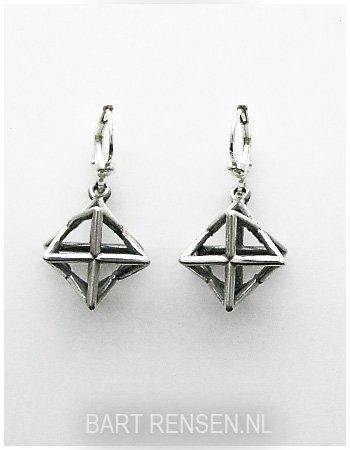 Ster-tetraëder oorhangers - zilver