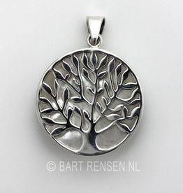 Levensboom hanger met steen - zilver