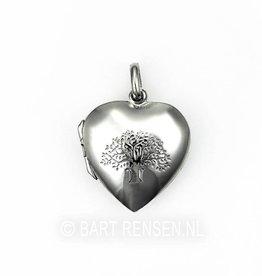 Levensboom Hart Medaillon - zilver