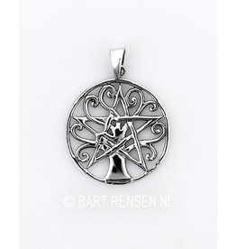 Pentagram  Levensboom  hanger - zilver