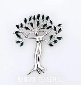 Levensboom - Vrouw hanger - zilver