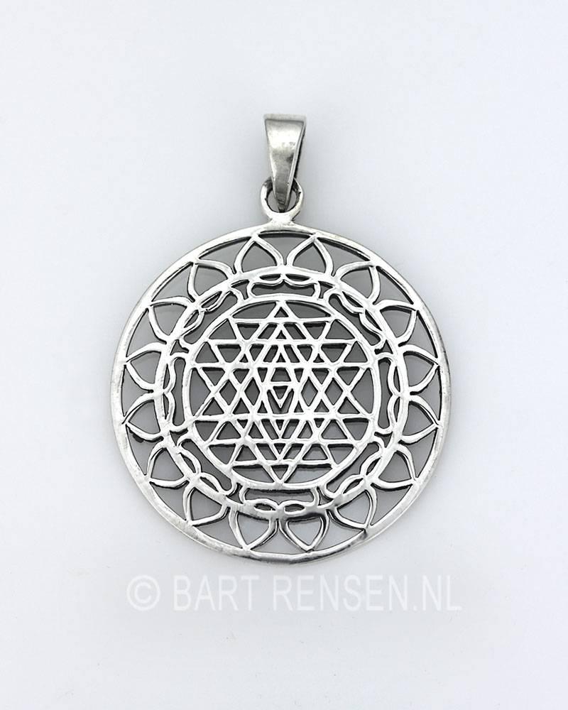 Yantra pendant sri yantra lotus pendant sterling silver mozeypictures Choice Image