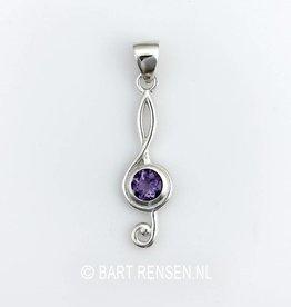 music key pendant - silver