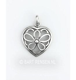 Heart Flower pendant - silver