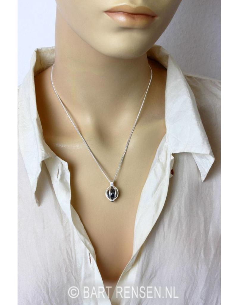 Silver Pendant with gemstone ball