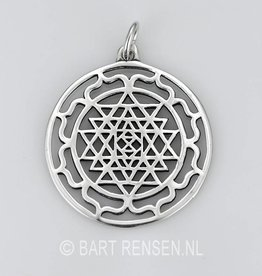 Sri Yantra Lotus pendant - silver