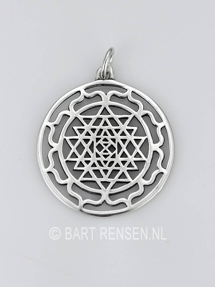Sri yantra pendant silver sri yantra lotus pendant silver or 14 carat gold mozeypictures Choice Image