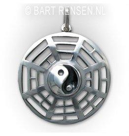 Yin Yang Trigrammen hanger  - zilver
