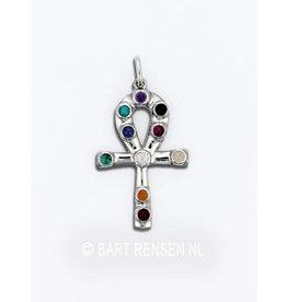 Ankh pendant with gem stones - Silver
