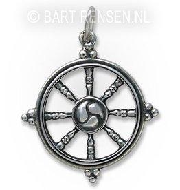 Dharma wiel hanger - zilver