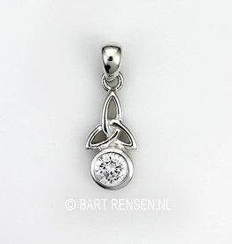 Triquetra hanger met steen - zilver
