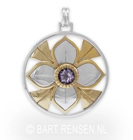 Lotus Pendant with stone - silver