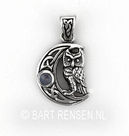 Uil hanger met steen - zilver