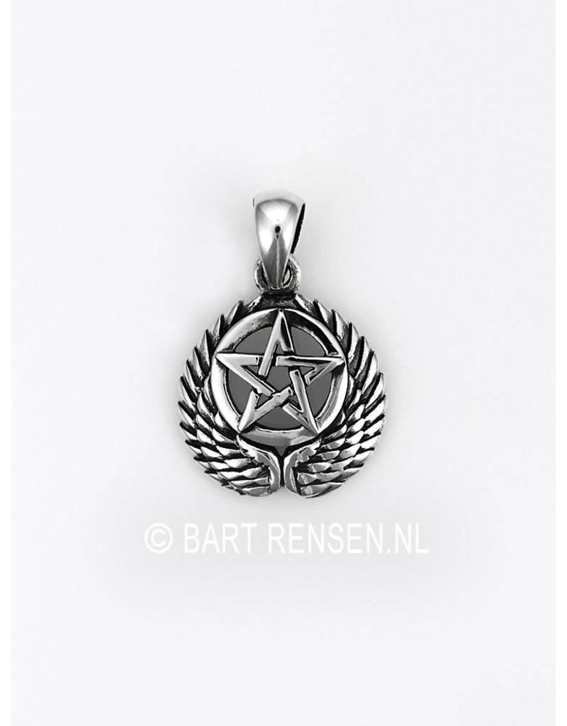 Silver pentagram pendant from winged pentagram pendant sterling silver aloadofball Choice Image