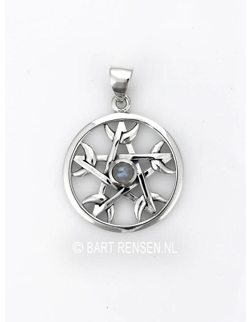 Silver pentagram pendant from pentagram moon pendant sterling silver aloadofball Choice Image