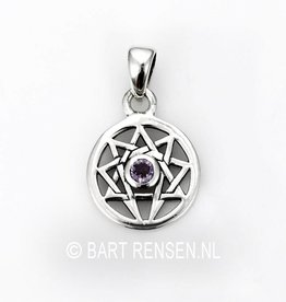 Enneagram pendant with stone - silver