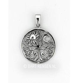 Levensboom hanger Zon en Maan - zilver